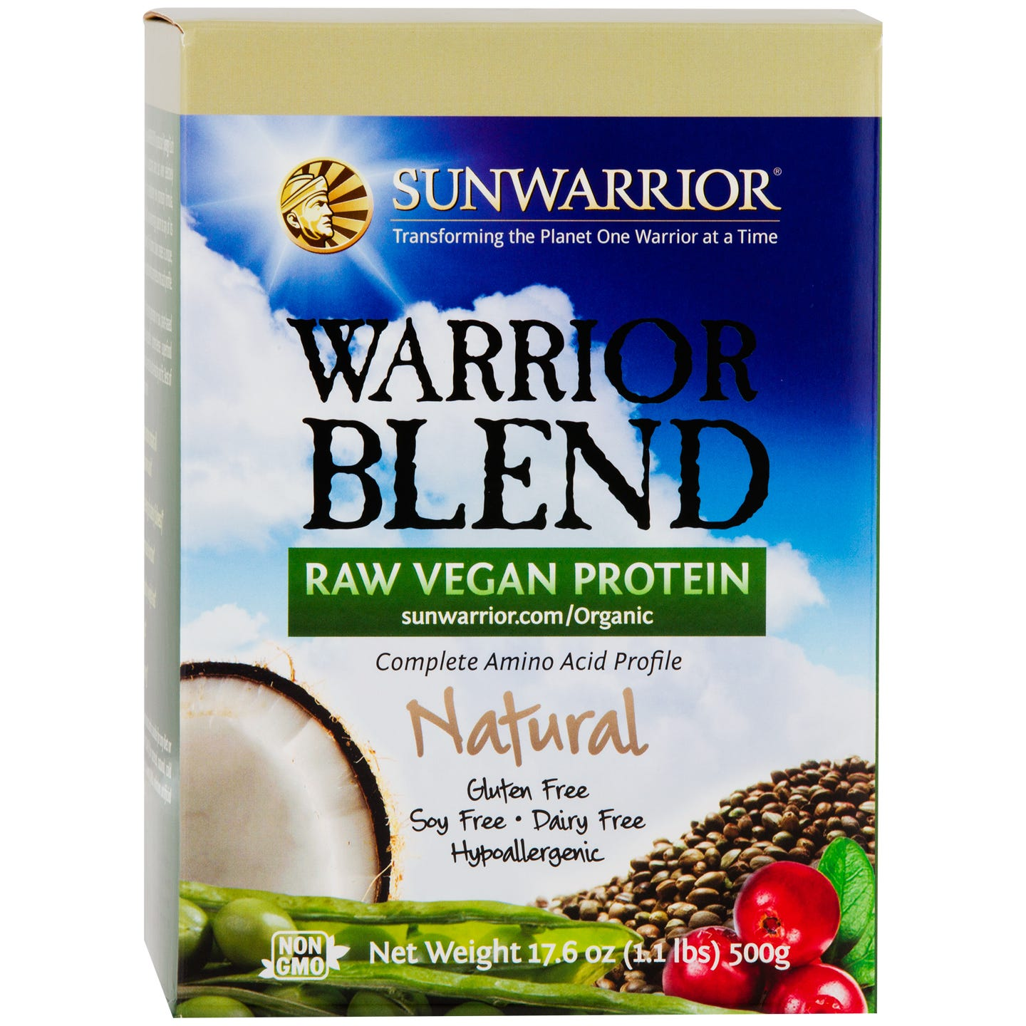 Warrior Blend Protein Natural 1.1lb, Sunwarrior - Rapid Diet Weight Loss Products Shop