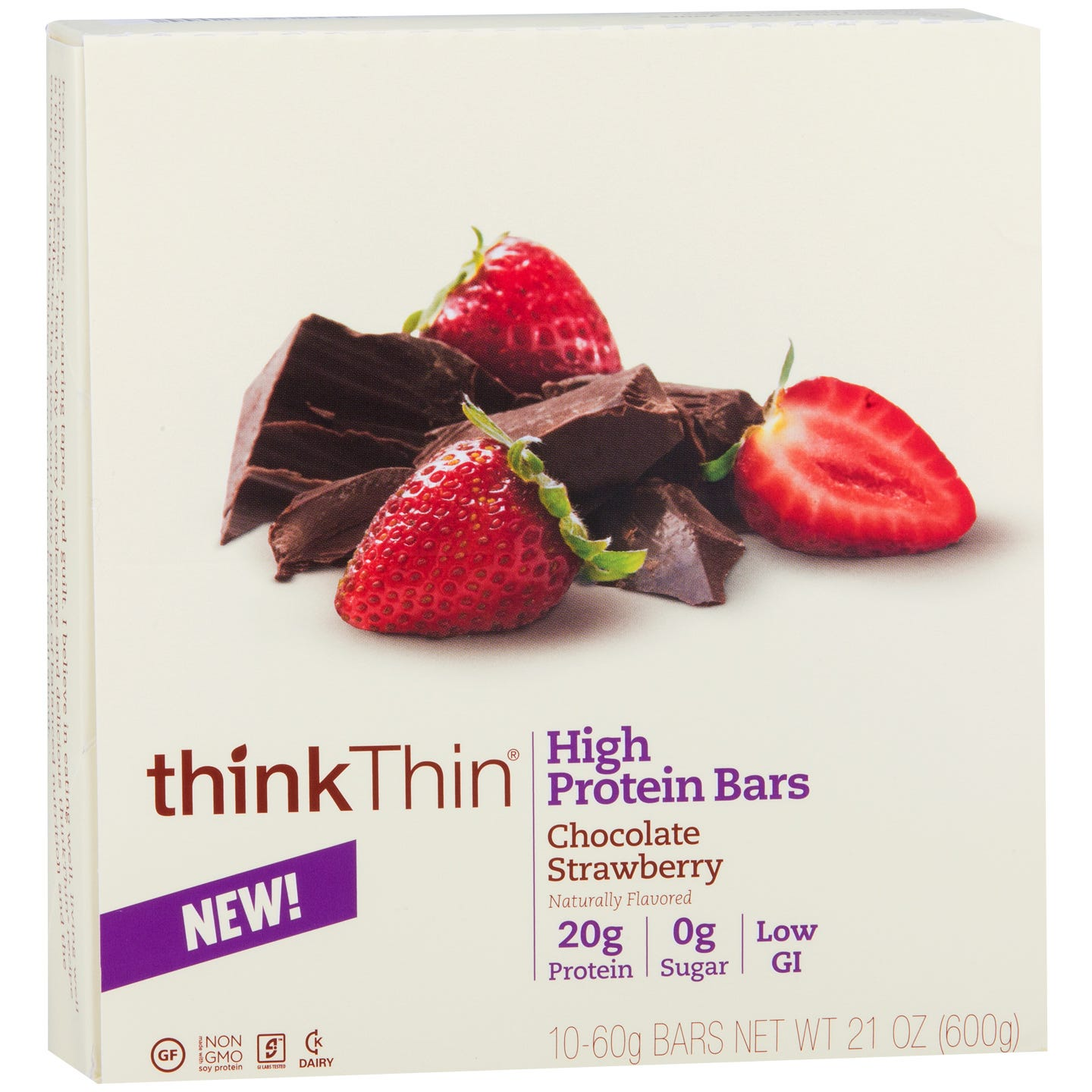 Protein Bar Chocolate Covered Strawberries (10 ct) - Think Thin Bars - Rapid Diet Weight Loss Products Shop