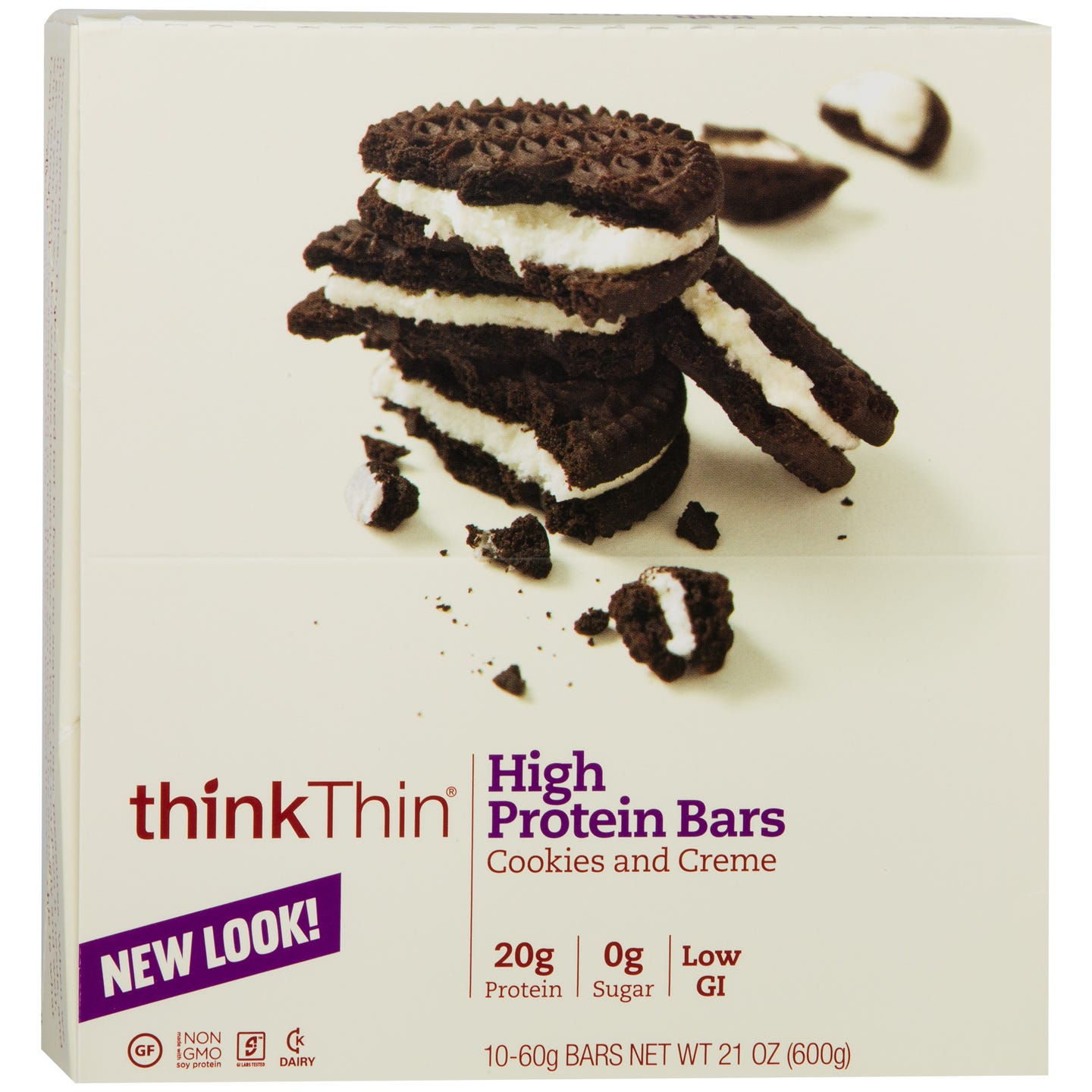 Protein Bar Cookies & Creme (10 ct) - Think Thin Bars - Rapid Diet Weight Loss Products Shop