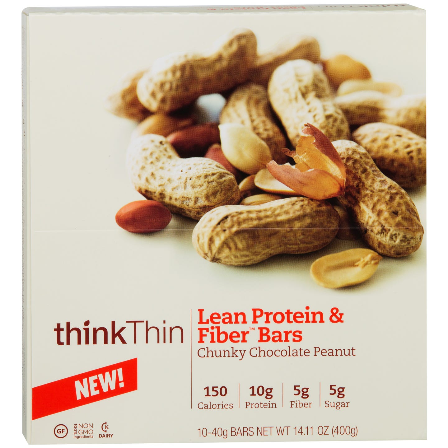 Lean Protein & Fiber Bar Chunky Chocolate Peanut(10 ct) - Think Thin Bars - Rapid Diet Weight Loss Products Shop