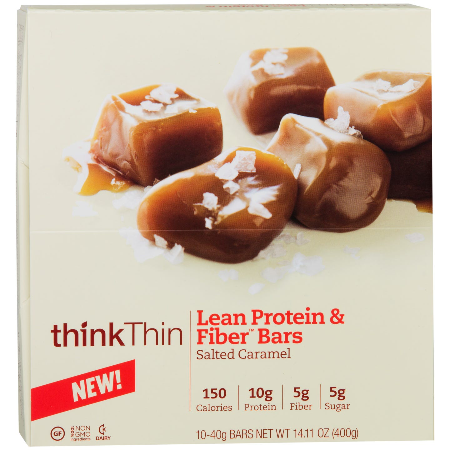 Lean Protein & Fiber Bar Salted Caramel (10 ct) - Think Thin Bars - Rapid Diet Weight Loss Products Shop