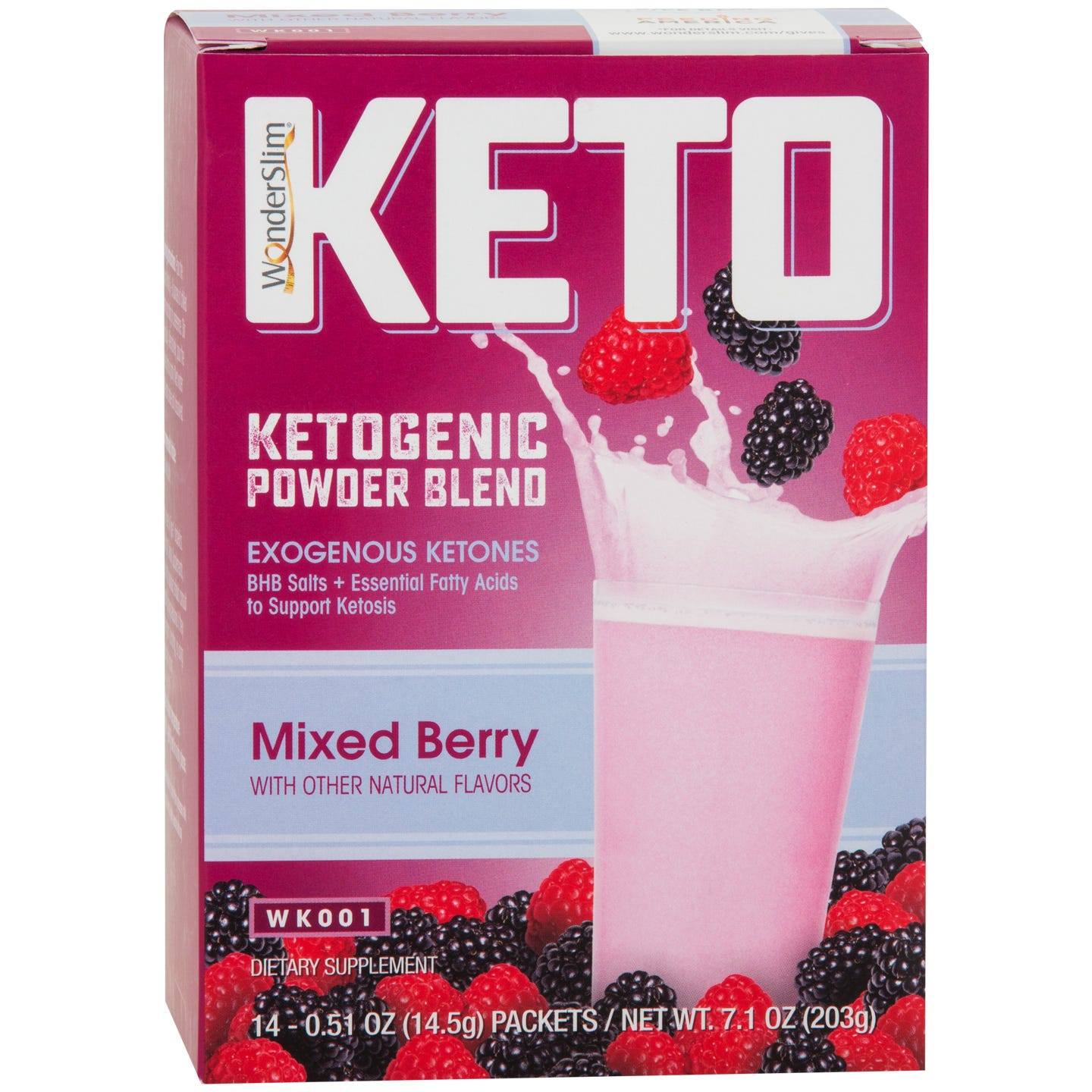 WonderSlim KETO Ketogenic Powder Blend  Mixed Berry - 14/Box