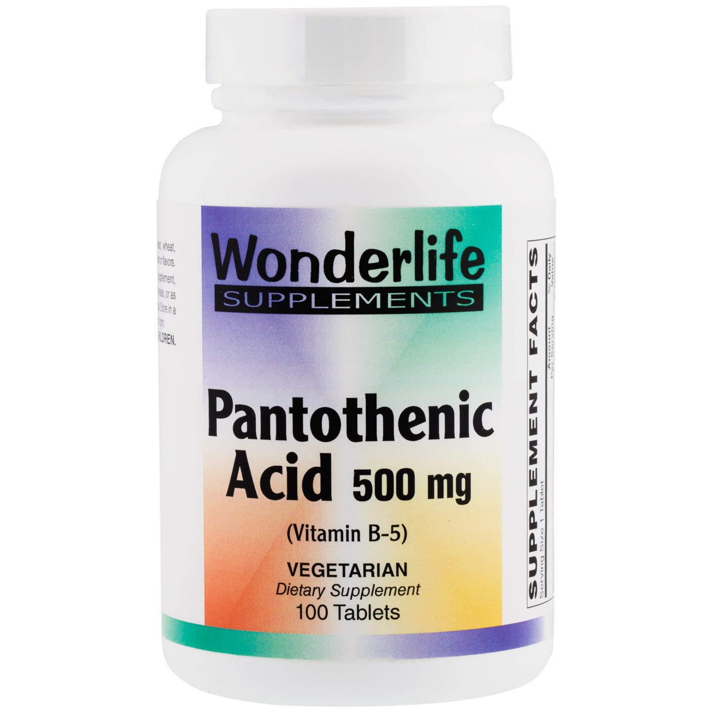Pantothenic Acid B-5, 500mg (100 Tablets), Wonderlife - Rapid Diet Weight Loss Products Shop
