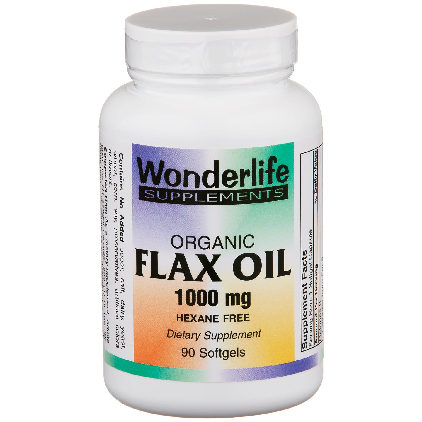 Organic Flax Oil 1000 mg (90 ct) - Wonderlife - Rapid Diet Weight Loss Products Shop