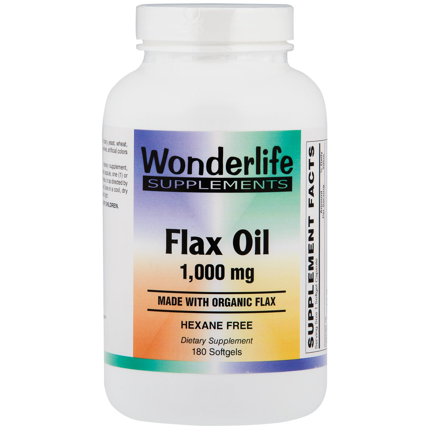 Flax Oil Softgels, 1000 mg (180 ct), Wonderlife - Rapid Diet Weight Loss Products Shop