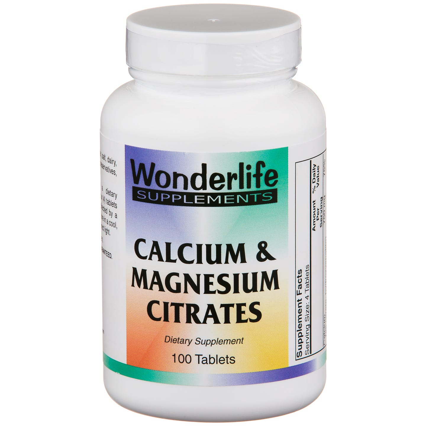Calcium & Magnesium Citrates (100 ct) - Wonderlife - Rapid Diet Weight Loss Products Shop