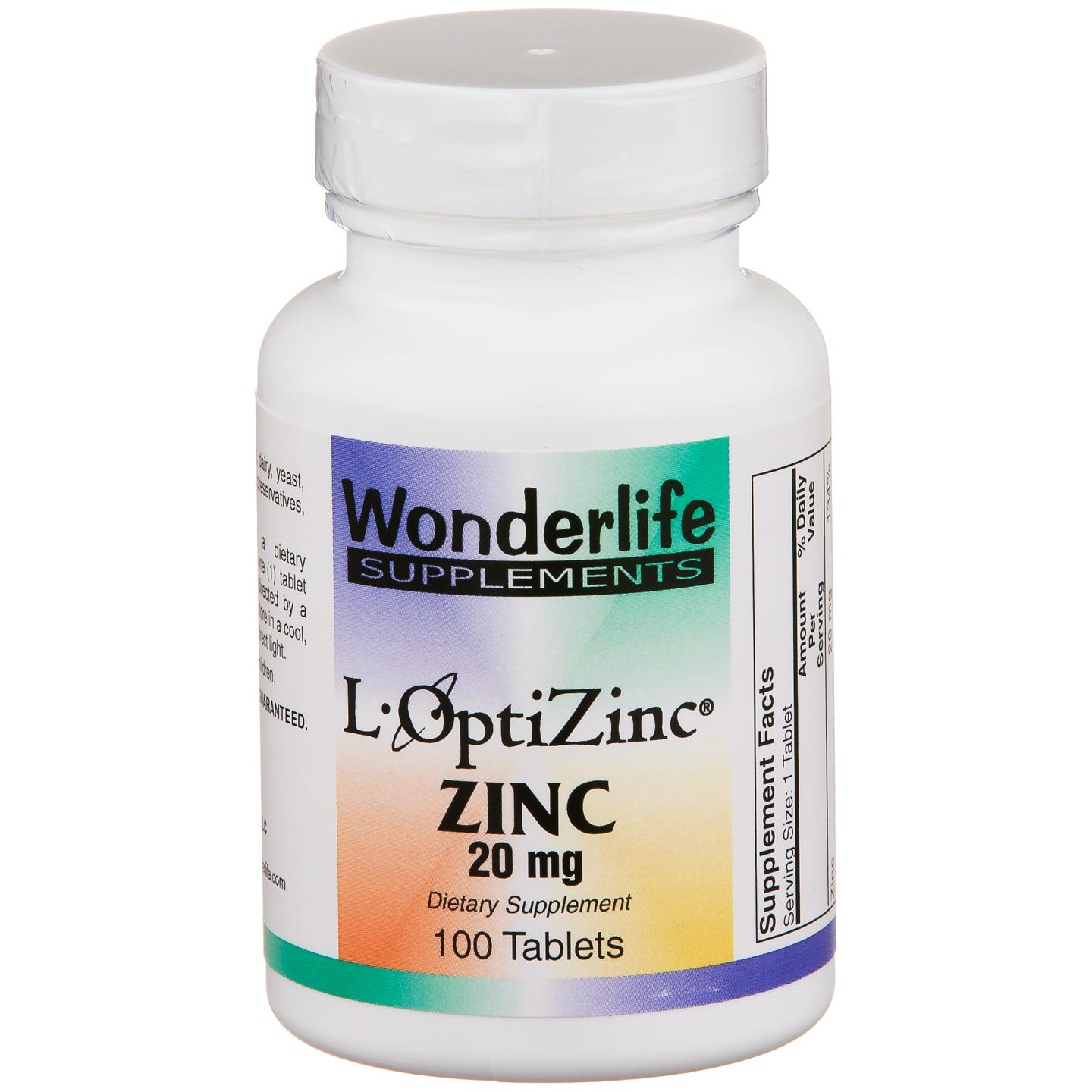 L-OptiZinc Zinc 20 mg (100 ct) - Wonderlife - Rapid Diet Weight Loss Products Shop