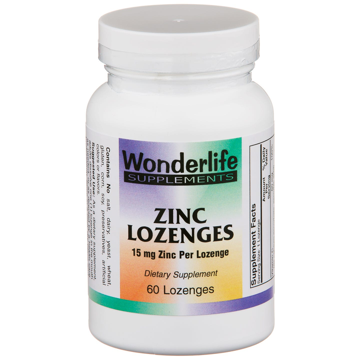 Zinc Lozenges 15 mg (60 ct) - Wonderlife - Rapid Diet Weight Loss Products Shop