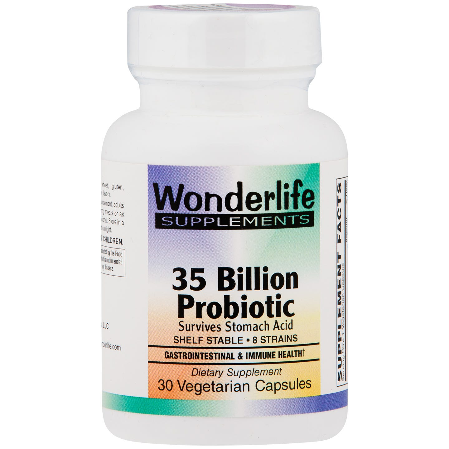 #health,Wonderlife 35 Billion Probiotic - 30 VCaps Each of the strains in this proprietary blend of 8 probiotic strains has been developed through decades of intensive scientific research. Each has been exposed to a variety of harsh conditions. As generations passed, the survivors of these conditions developed resistance to acidity, alkalinity, moisture, pressure and antibiotics. What does that mean to you? You are guaranteed an effective multi-level probiotic that survives long enough in you