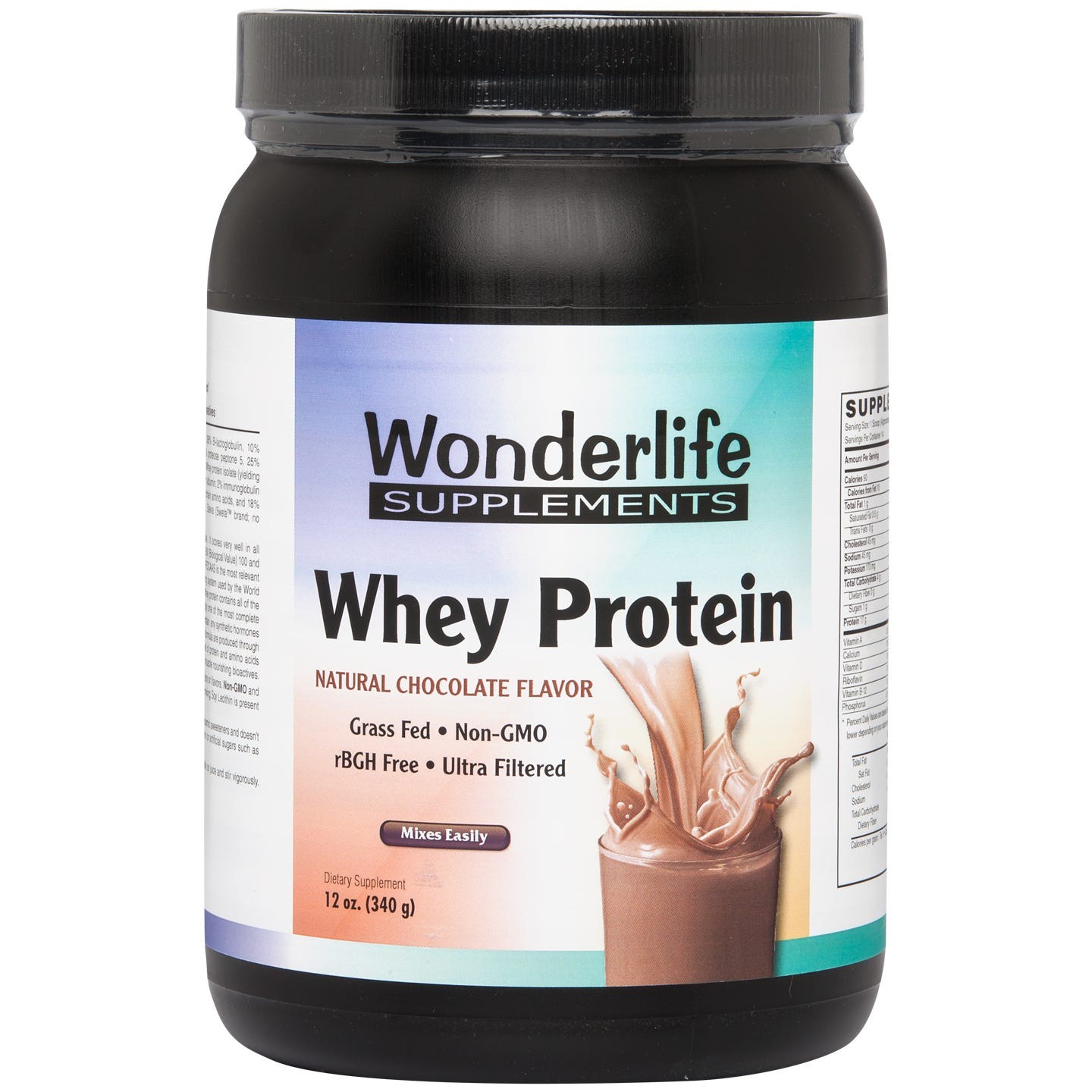 Whey Protein Micro-Filtered & Hydrolyzed Chocolate 12 oz, Wonderlife - Rapid Diet Weight Loss Products Shop