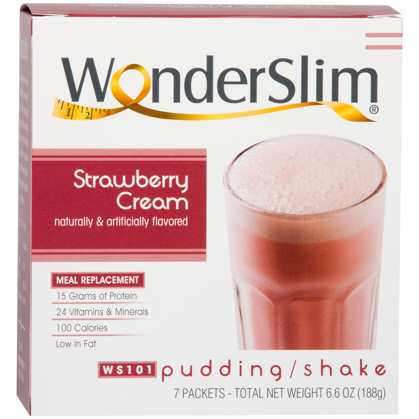 WonderSlim Meal Replacement Pudding/Shake Strawberry Cream (7 ct) - Rapid Diet Weight Loss Products Shop