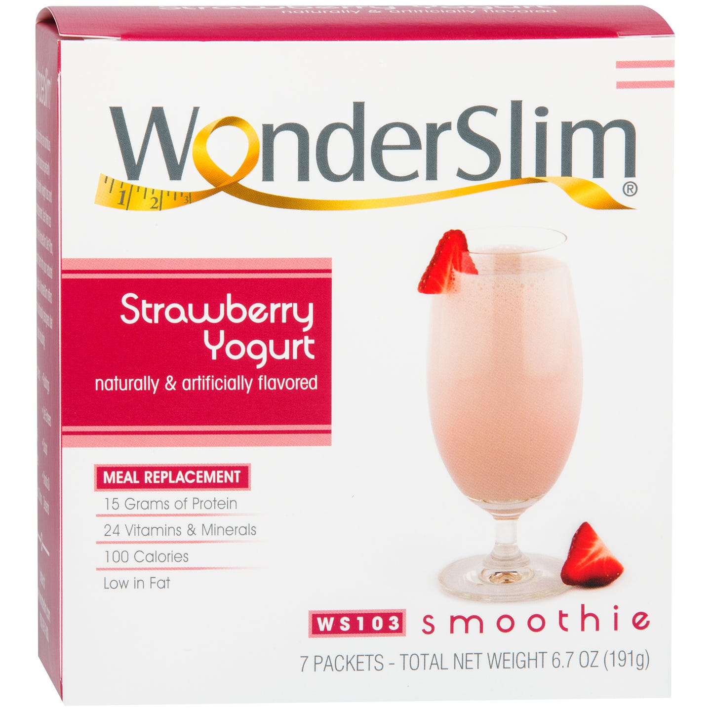 WonderSlim Meal Replacement Smoothie Strawberry Yogurt (7 ct) - Rapid Diet Weight Loss Products Shop