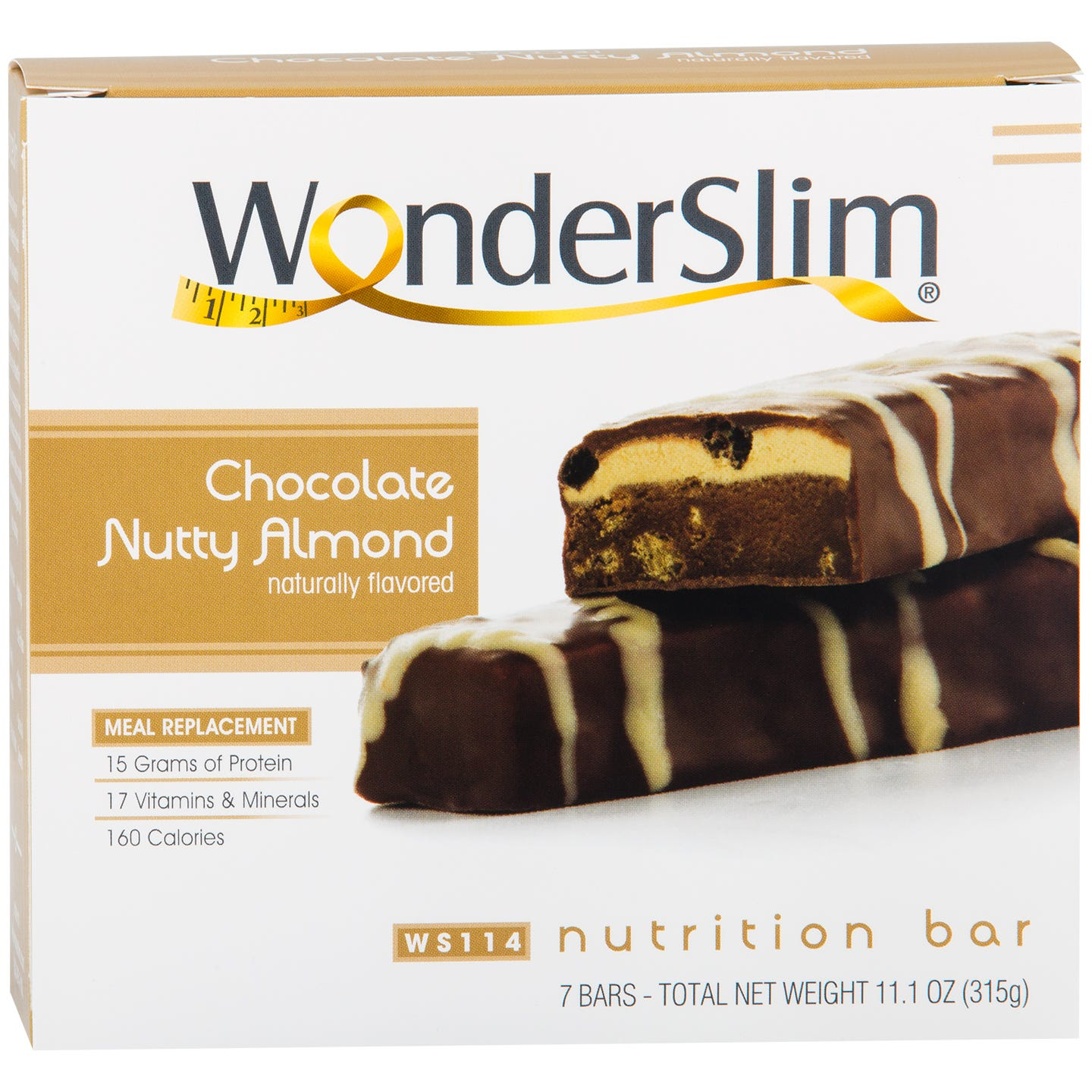 WonderSlim Meal Replacement Nutrition Bar Chocolate Nutty Almond (7 ct) - Rapid Diet Weight Loss Products Shop