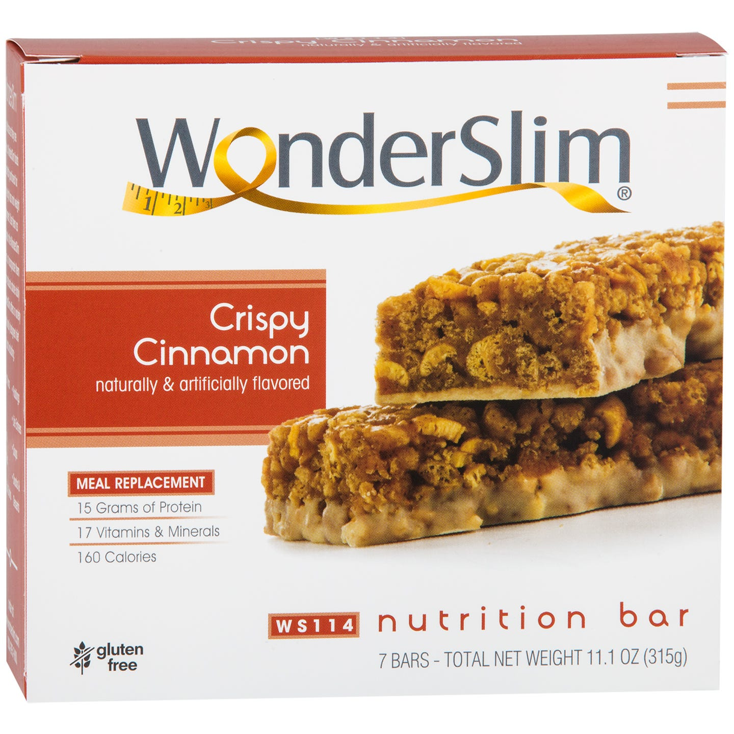 WonderSlim Meal Replacement Nutrition Bar Crispy Cinnamon (7 ct) - Rapid Diet Weight Loss Products Shop