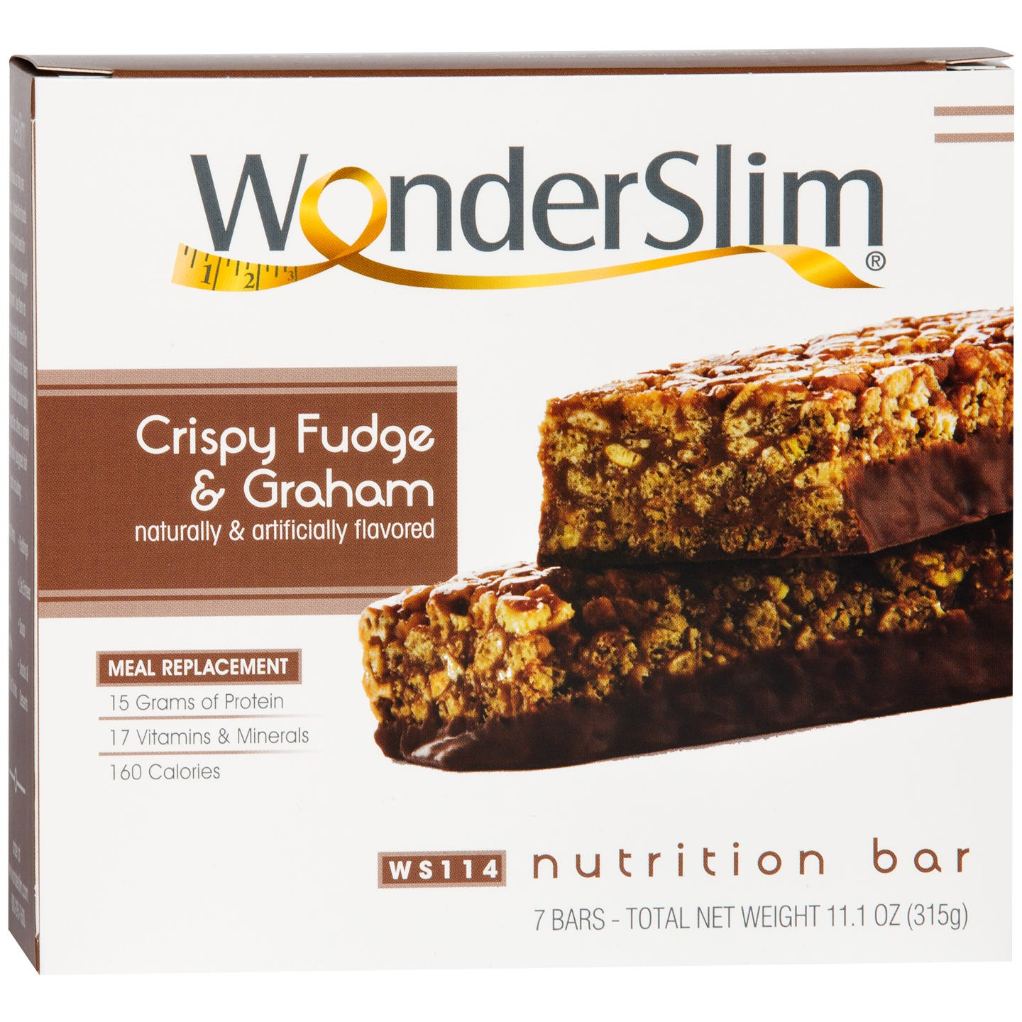 WonderSlim Meal Replacement Nutrition Bar Crispy Fudge and Graham (7 Ct)