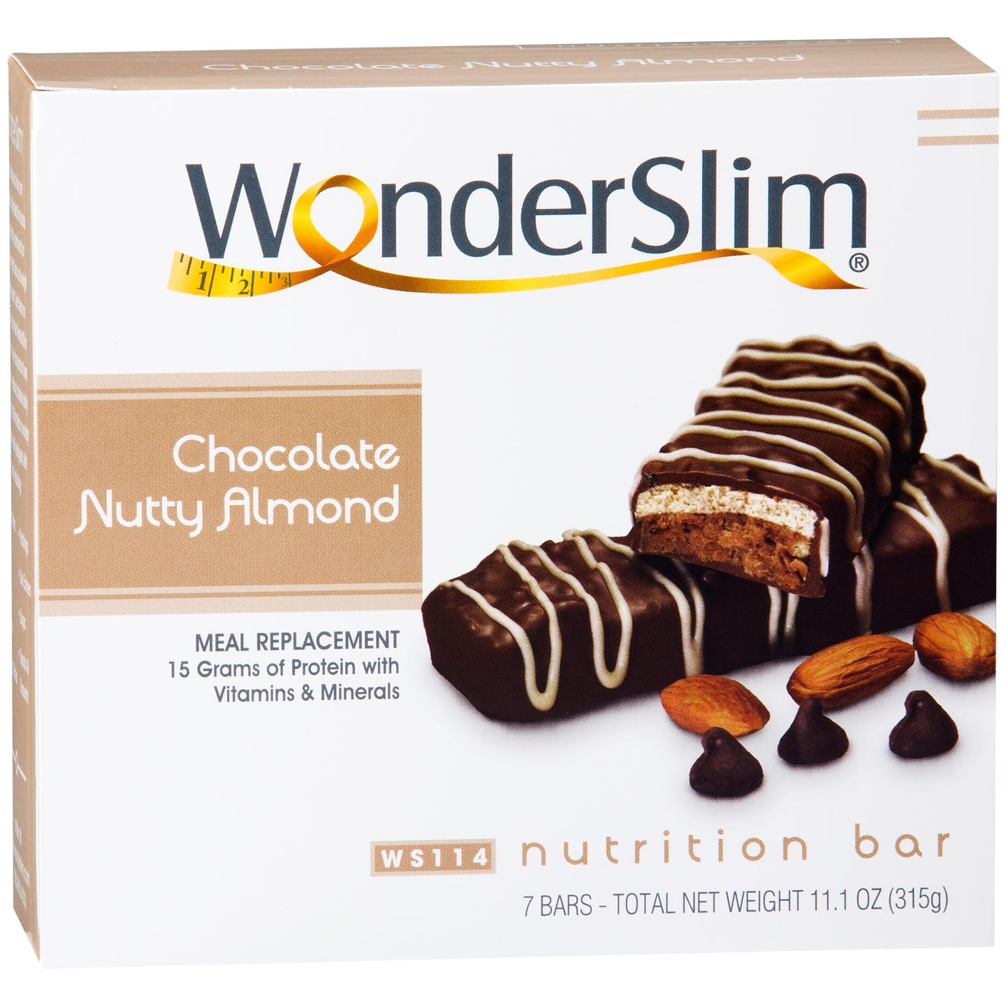 WonderSlim Meal Replacement Nutrition Bars - Chocolate Nutty Almond