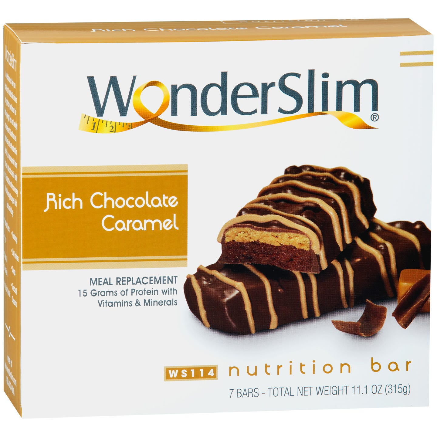 WonderSlim Meal Replacement Nutrition Bars - Rich Chocolate Caramel
