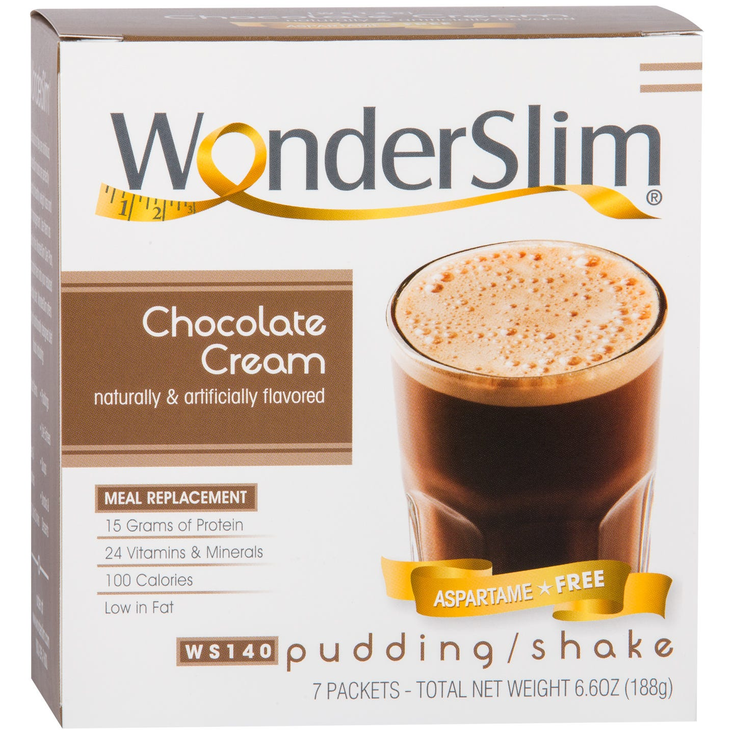 WonderSlim Aspartame-Free Meal Replacement Pudding/Shake Chocolate Cream (7 ct)