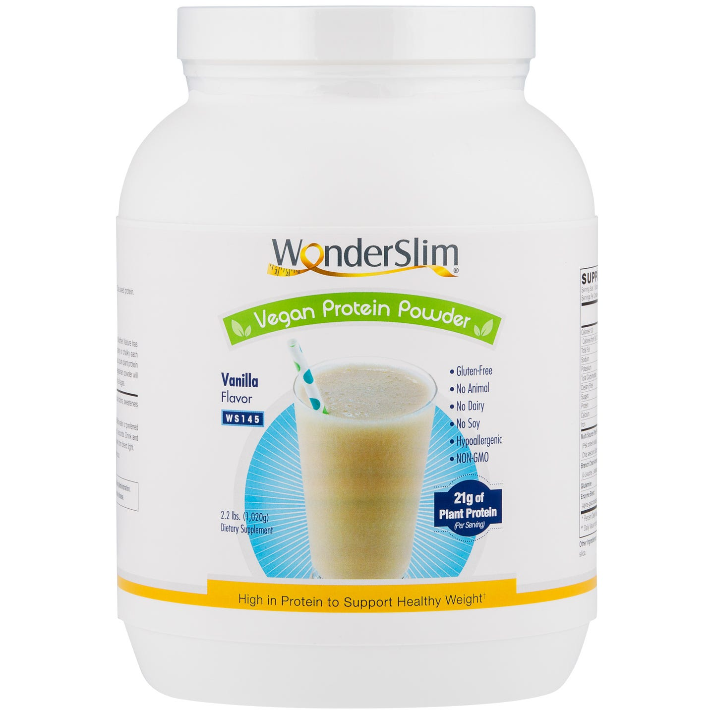 WonderSlim Vegan Protein Powder Vanilla 2.2 lbs